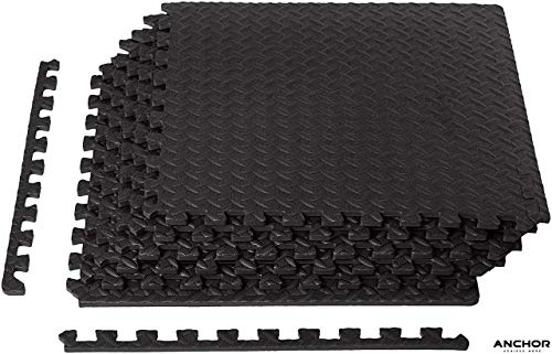 Anchor Sports Exercise Foam Mat – Anti fatigue Protective Interlocking Puzzle EVA Floor Tiles with Edges – Gym Flooring…
