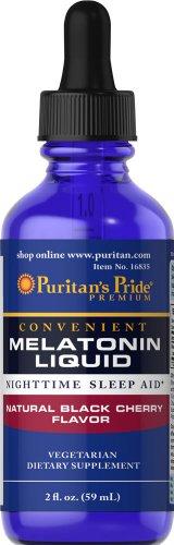 Puritan's Pride Sublingual Melatonin Natural Black Cherry Flavor 1 mg-2 oz Liquid (A Treat Black Cherry)