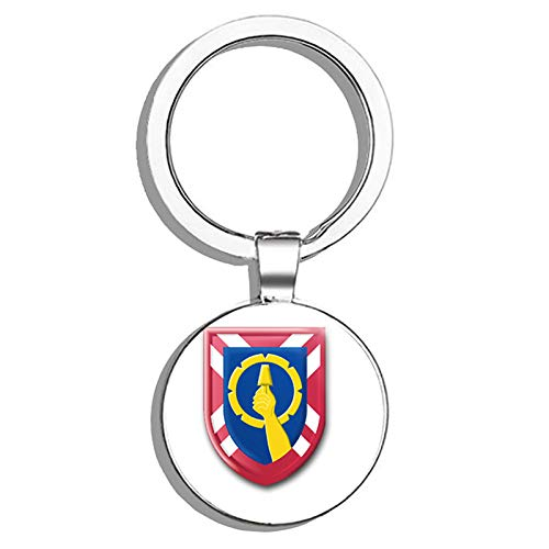 HJ Media US Army 121st Reserve Command Metal Round Metal Key Chain Keychain Ring