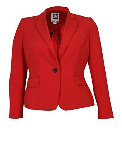 Anne Klein Women's Pocketed Graphic Matters Blazer (14P, Roma Red)