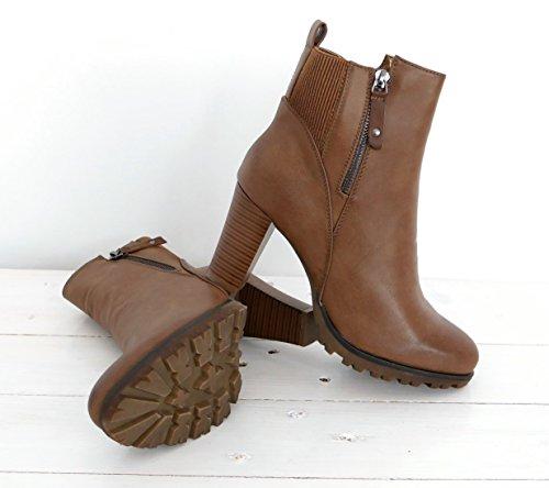 bequeme Plateau Ankle High Stiefelette Chelsea Bootie Damenschuhe khaki braun (8328)