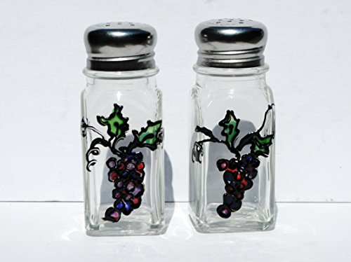 Purple Grapes Hand Painted Glass Salt and Pepper Shakers Set, Fruit Kitchen Decor