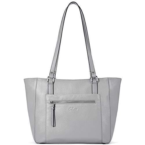 Women Handbags Soft Genuine Leather Designer Purse Large Tote Top Handle Ladies Shoulder Bag Gray