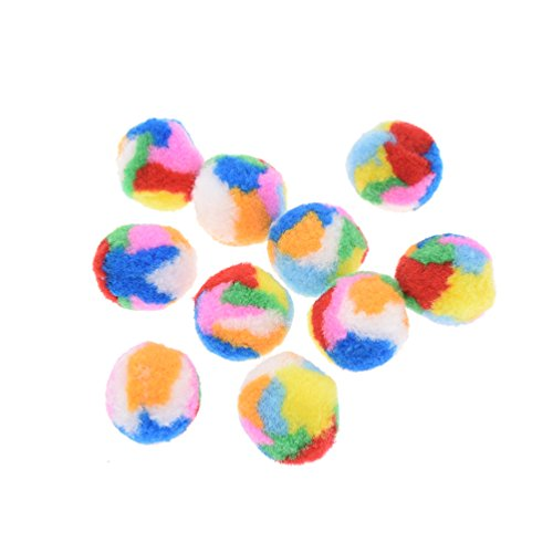 Towashine 10Pcs Small Assorted Color Kitty Yarn Puffs Cat Toys Cat Chase Balls 1.37″ Diameter