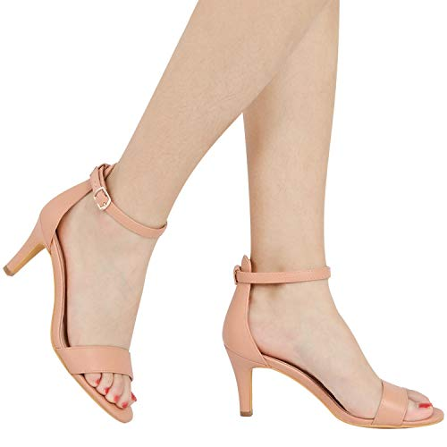 ZriEy Women's Heeled Sandals Ankle Strap High Heels 7CM Open Toe Mid Heel Sandals Bridal Party Shoes Nude Size 7