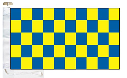 Chequered Royal Blue and Yellow Check Boat Flag - 1 Yard  -