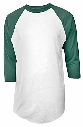 Raglan 50 T-shirt Contrast - Soffe Mens Classic Raglan 3/4 Sleeve T-Shirt White/Dark Green M