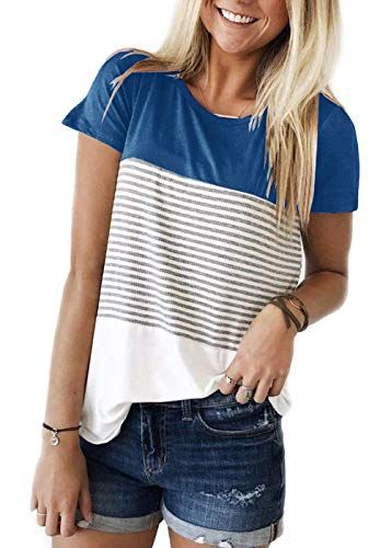 TWKIOUE Women Casual Stripe Blouse Crewneck Long Sleeve Pullover Tunic Tops Summer Shirts Blue XL