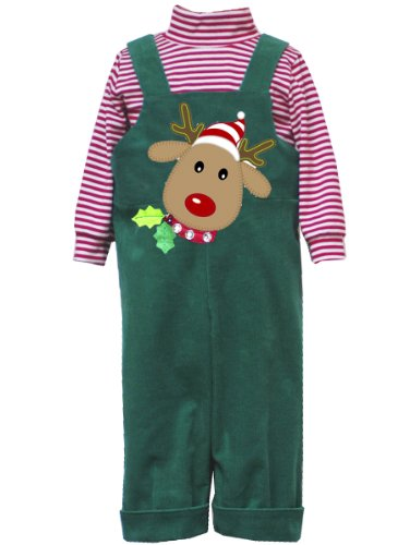 Rare Editions Baby-BoysNewborn Corduroy Overall With Stripe Bodysuit