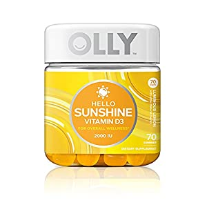 OLLY Hello Sunshine Gummy Supplement With 2000 IU of Vitamin D3, Luminous Lemon, 100 Count