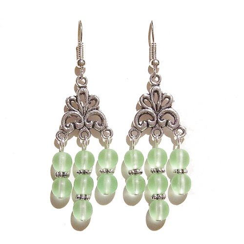 - Antique Silver-Tone Chandelier Earrings w/ Frosted Czech Glass Beads - Pale Green