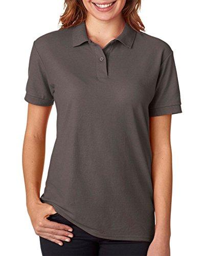 Ringspun Pique Shirt (Gildan - Ladies DryBlend Double Pique Polo Shirt - 72800L-Charcoal-L)