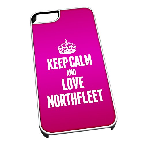 Bianco cover per iPhone 5/5S 0463 Pink Keep Calm and Love Northfleet