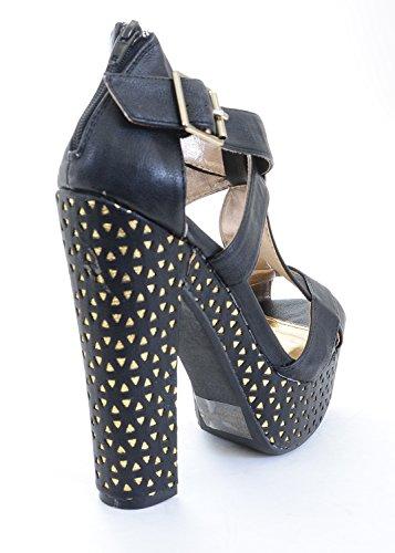Cuffed Chunky Platform Women Sandal Heels Open Toe qTwF6tga