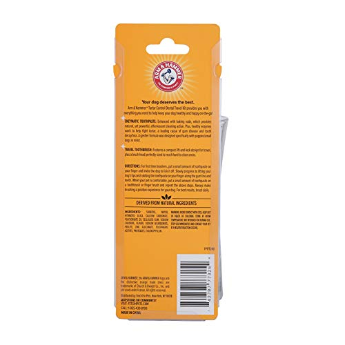 Arm & Hammer Clinical Care Travel Dental Kit For Dogs in Vanilla Ginger Flavor  Toothbrush and Toothpaste Set for All Dogs