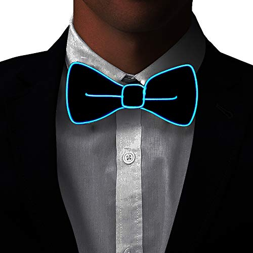 Light Up BowTie Costume Accessory LED Bow Tie Perfect for Halloween Party Christmas New Years Rave Party (Blue) -