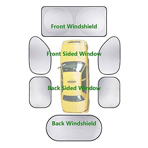 Foldable Sun Shade Set for Car Windows - 6 packs Sunshade for Vehicle All Windows