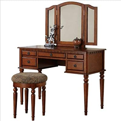 Bobkona F4060 St. Croix Collection Vanity Set with Stool, Rose Gold