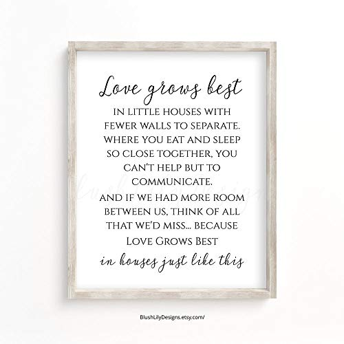 Cazvas Love Grows Best in Little Houses just Like This, Home Decor Wall Art Printable Family Home Decor Housewarming Gift Home Quote Wall Art Frame (Love Grows Best In Little Houses Printable)