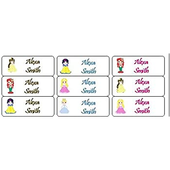 Pack of 30 Iron On Kids Clothing Labels Disney Princess Clothing Labels for Camp Disney Princess Summer Camp Supplies