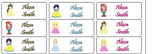 30 Personalized Waterproof Name Labels Disney Princess Labels