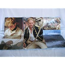 POSTER:MASTER COMMANDER, THE FAR SIDE OF THE WORLD, FRONT POSTER THE SHP, BACK POSTER: 5 PICTURES OF THE MOVIE, IN THE MIDDLE THE MAIN ACTOR RUSSELL CROW, 22 INCHES ON 33 INCHES POSTER