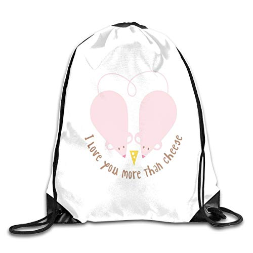 (Unisex Drawstring Bag Gym Bags Storage Backpack,Pink Rats With Tangled Tails Forming A Heart Sweet Valentines)