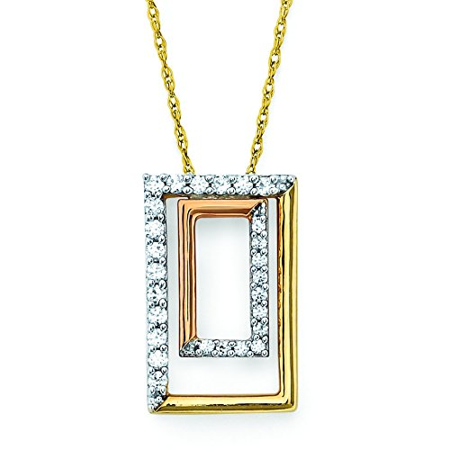 (14K Tri-Color Gold Diamond Geometric Pendant Necklace, 18