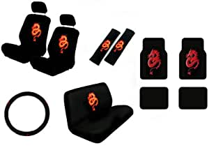 15 piece auto interior gift set dragon red 2 front seat covers 2 front and 2. Black Bedroom Furniture Sets. Home Design Ideas