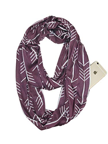 Fashion Solid Color Scarf for Women Infinity Scarf with Zipper Pocket, Best Travel Scarf Red White Tree (Best Red Wedding Reaction)