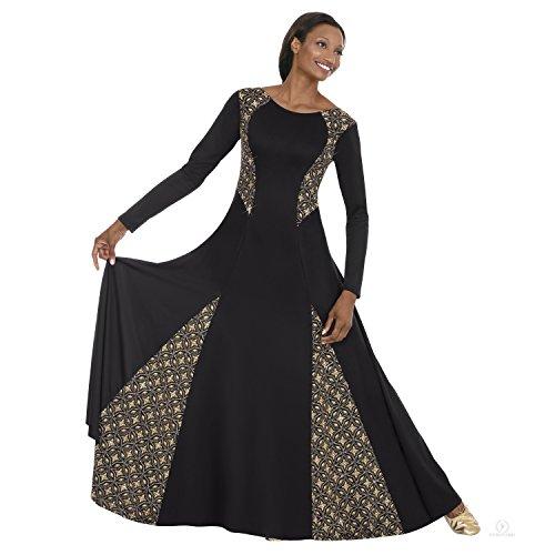 Eurotard Royalty Dance Dress  3X  Black Gold