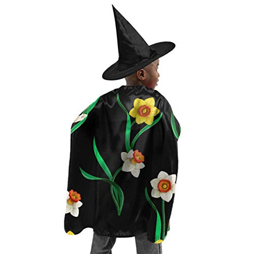 DKGFNK Romantic Retro Spring Daffodil Flowers Mens Capes and Cloaks Costume Cloak with Hood Witch Cloak and Hat Dress Up for Halloween Birthday Party