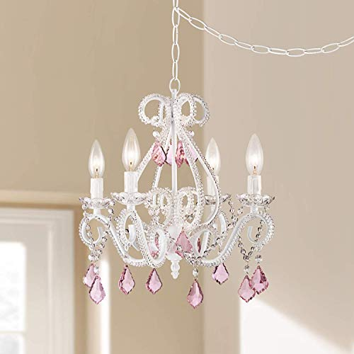 Saint Mossi Elegant Crystal Chandelier 4 Arms Lights E12 Lamp Base White Painted with Pink Crystal Glass Droplets