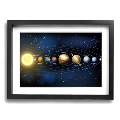 CLLSHOME 12x16 Inches Wall Decor Toilet Bathroom Framed Art Print Picture Outer Space Planets and Stars in Solar System Wall Art for Home Decorations ()