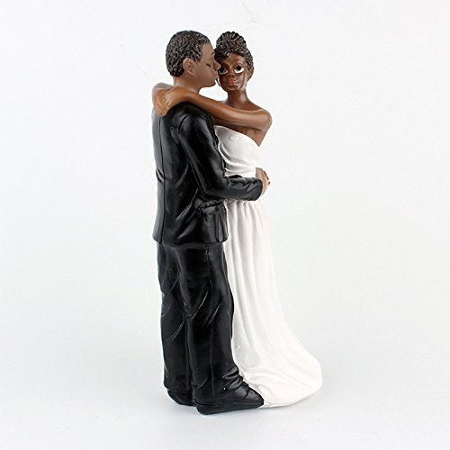 Zehui African American Wedding Bride and Groom Cake Topper Figurine, Resin Wedding Anniversary Gift, 6.30 inch (American African Cake Topper Wedding)
