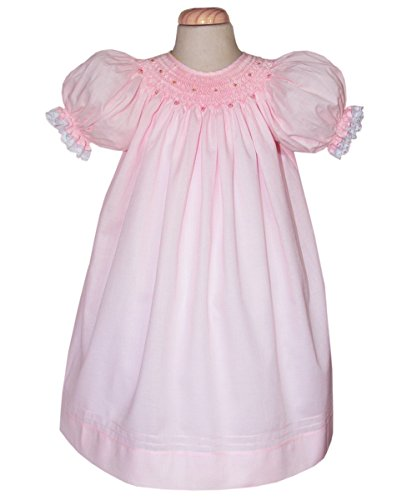 Carouselwear Baby Girls Pink Cotton Bishop Dress Hand Smocked and Lace In Sleeves