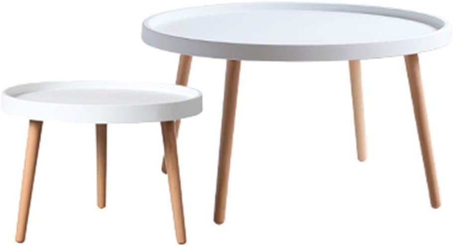 Kopen GWDJ Bijzettafel, salontafel, nachtkastje, 2-delige set, ronde bijzettafels met poten van massief grenenhout voor de woonkamer, Nest of Tables, roze/wit Style2 INKdC2U
