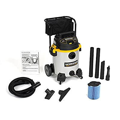 WORKSHOP Wet/Dry Vacs WS1600SS Stainless Steel 6.5-Peak Wet Dry Vacuum Cleaner, 16 Gallon