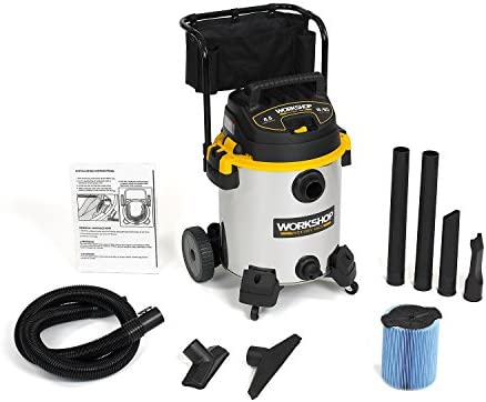 WORKSHOP Wet Dry Vacs WS1600SS Stainless Steel 6.5-Peak Wet Dry Vacuum Cleaner, 16 Gallon