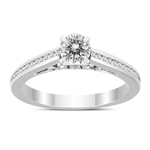 3/8 Carat TW Diamond Engagement Ring in 14K White Gold ()