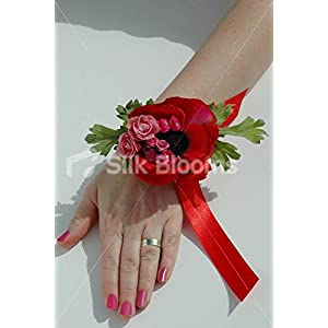Bright Red Anemone & Pink Rose Pearl Wrist Corsage w/ Red Ribbon 6