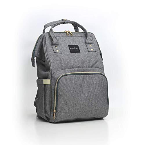 MOONBEE Diaper Travel Backpack w/Waterproof & Insulated Triple Baby Bottle Pouch (Linen Gray) (Triple Bottle Wine)