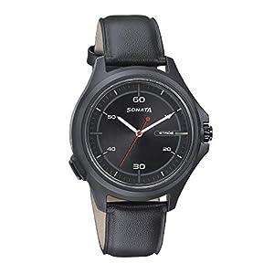 Sonata Stride Hybrid Smart Watch Black Dial for Men-7130PL03