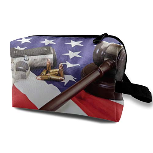 Large Capacity Portable Travel Toiletry Bag Organizer For Womens Girls Gun Gavel Flag Of America Makeup Bag Pouch, Waterproof Oxford Clutch Coin Purse