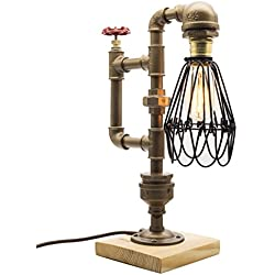 "Y-Nut Loft Style Lamp,""The Cage"", Steam Punk Industrial Vintage Style, Wood Base Metal Body, Table Desk Light With Dimmer, LL-008"