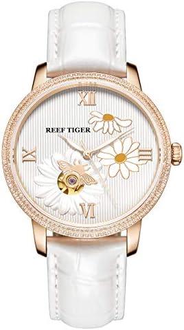 Reef Tiger RGA1585 بانوی لوکس واقعی چرم توخالی از شماره گیری زنان مچ دست اتوماتیک مچانی