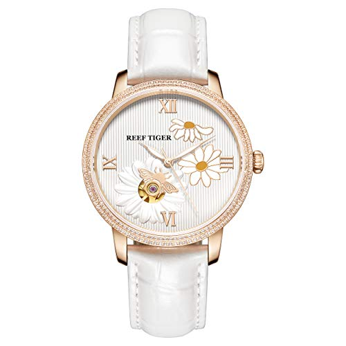 Reef Tiger RGA1585 Lady Luxury Genuine Leather Hollow Out Dial Women Automatic Meachanical Wrist Watch