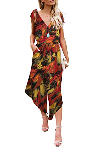 BELONGSCI Women Outfit Sleeveless Shoulder Bandage Waistband Sexy V-Neck Wide Leg Long Jumpsuit with -