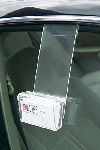 Marketing Holders Clear Acrylic Mobile Business Card Holder with Lid and Car Window Mount for 50 Cards by Marketing Holders