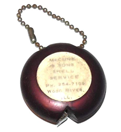 Vintage McCune & Sons Shell Service Station Advertising Tape Measure Keychain - Wood River, IL